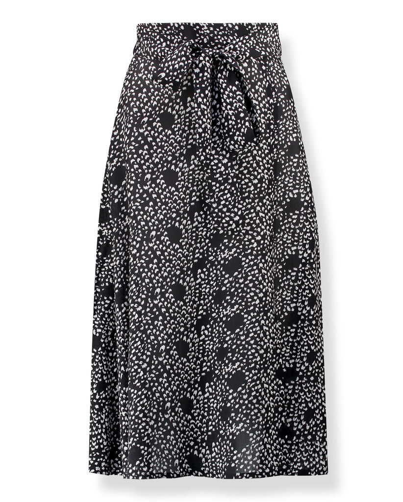 Miranda Silk Printed Skirt in Feathers