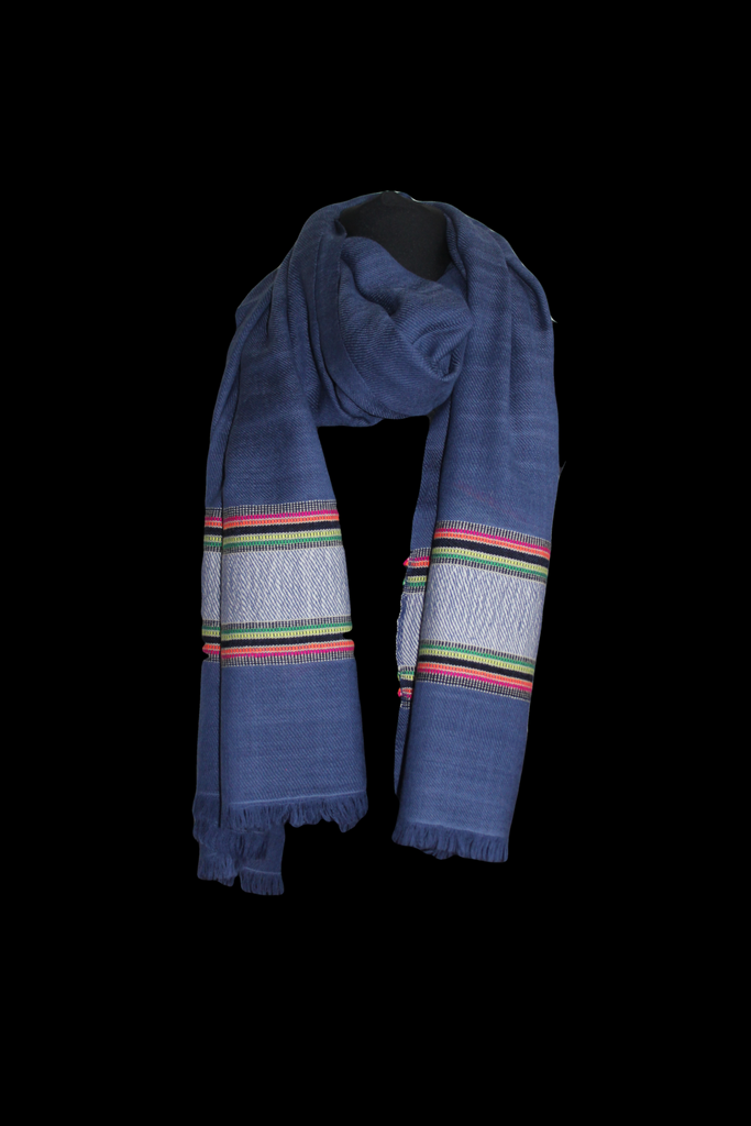 Navy Thick Multicoloured Stripe Shawl