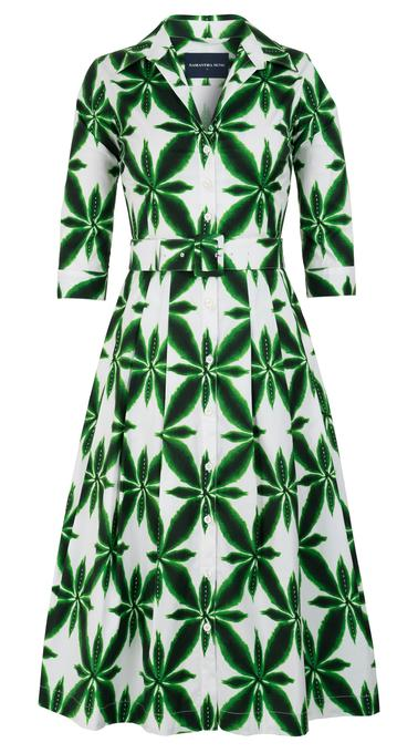 Audrey Dress in Pine Green Origami Flower