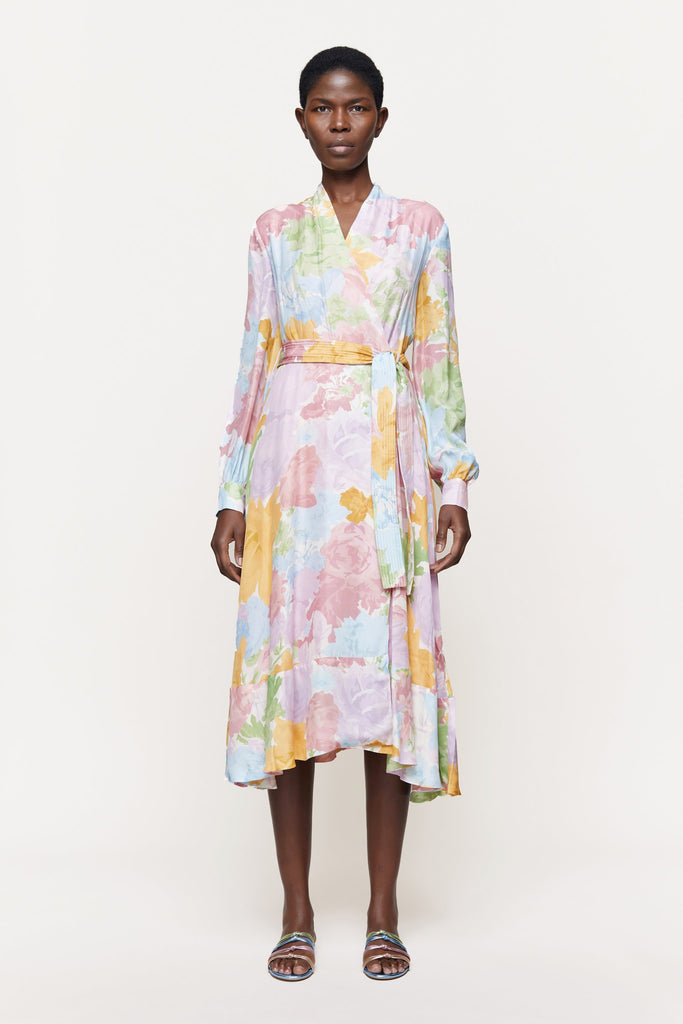 Reflection Silk Dress in Rosegarden Pastel