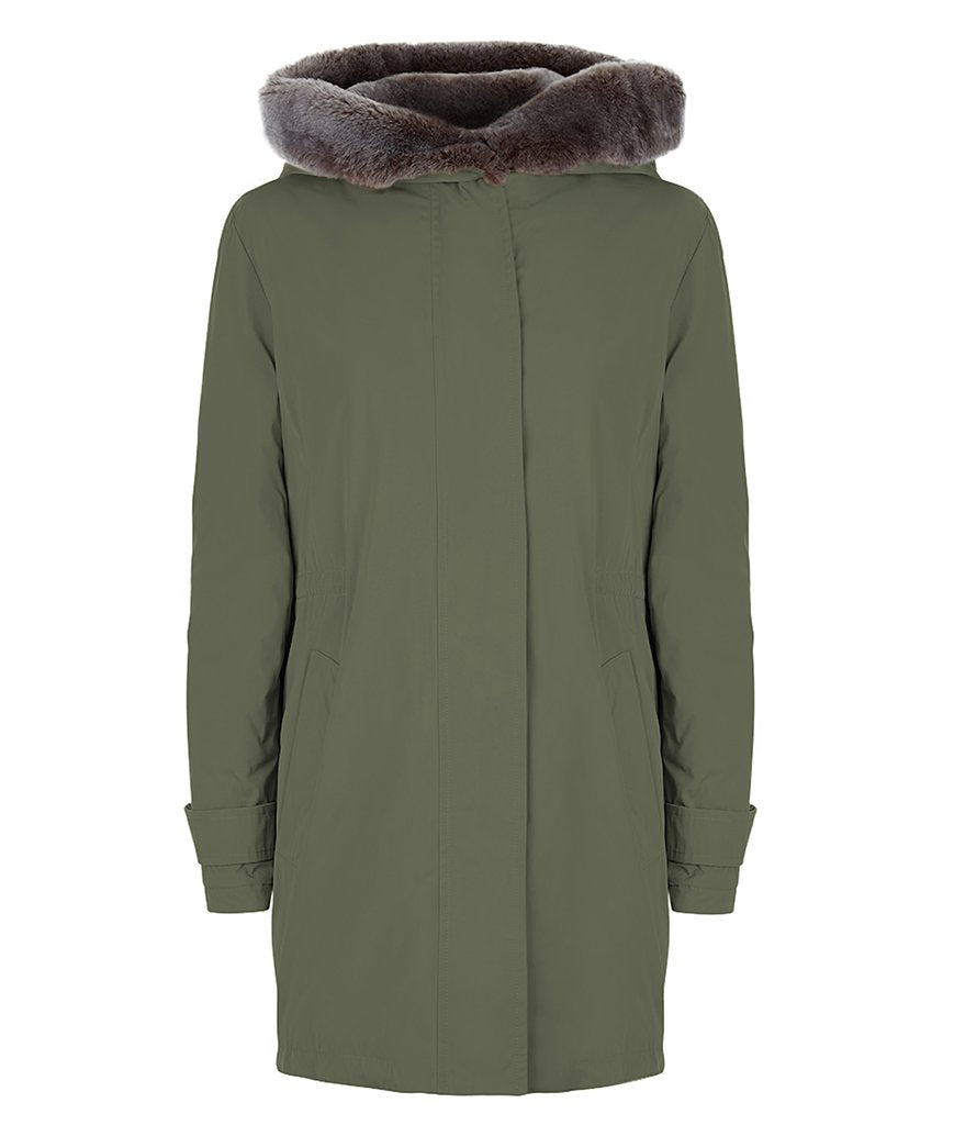 Troy Parka in Sage with Faux Fur Trim