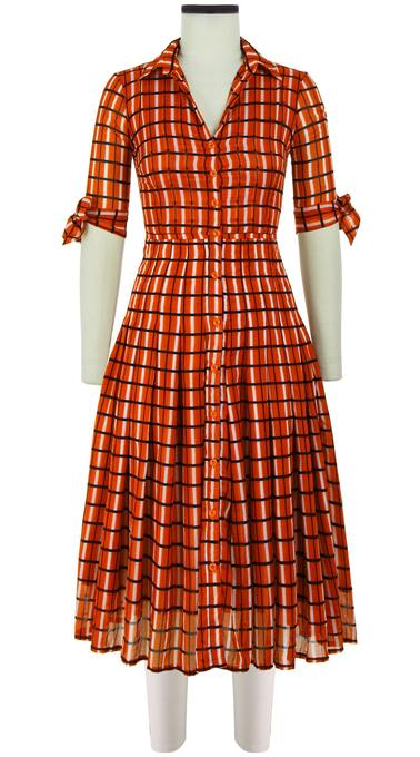 Audrey Dress in Orange Roman Check