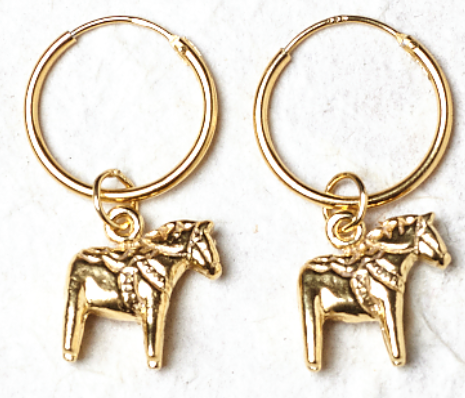 Horse Charm Gold Plated Earrings