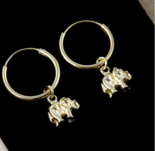 Elephant Charm Gold Plated Hoop Earrings