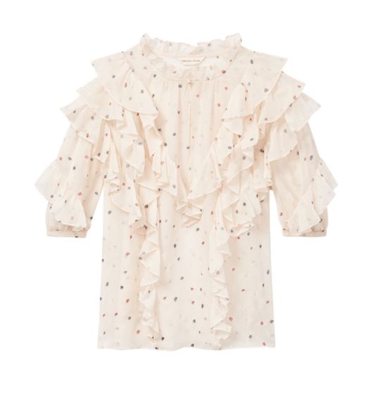 Shortsleeve Glitter Gem Chiffon Top