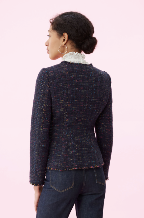 Rainbow Tweed Jacket in Navy