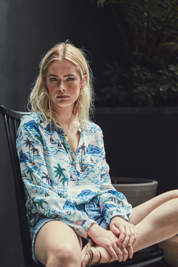 Lizzie Silk Top in Aloha Print