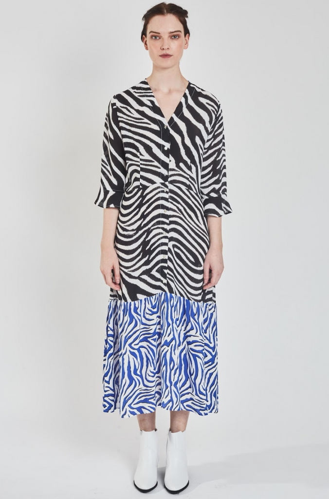 Adele Tiered Dress in Zebra Black & Blue