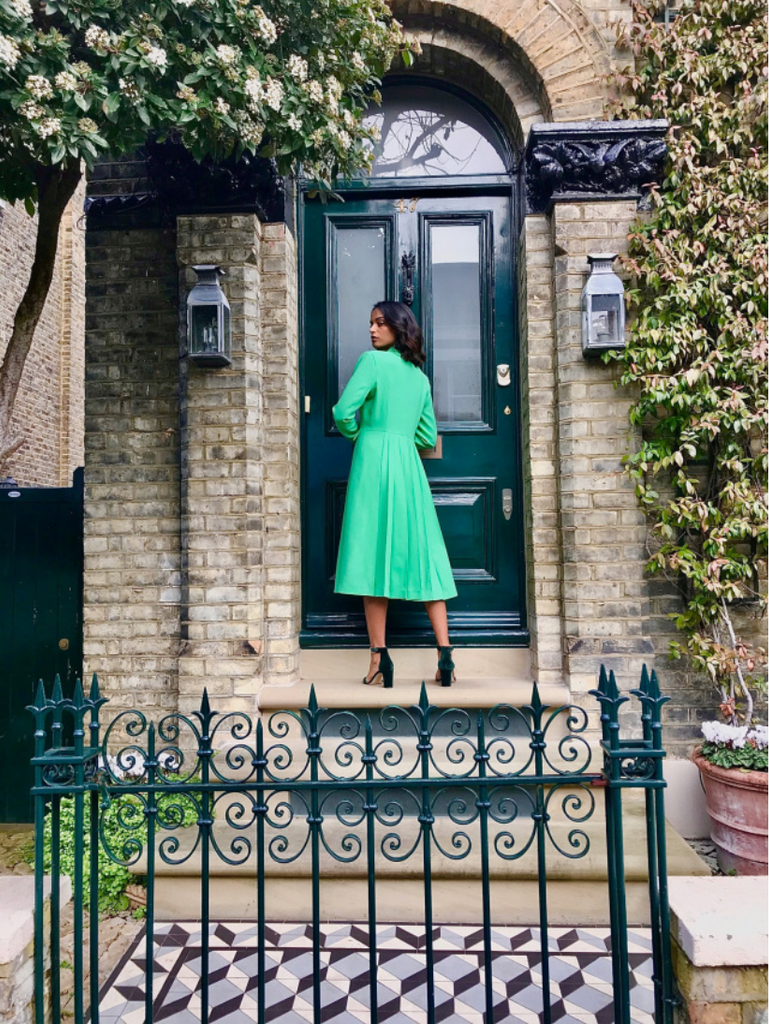 Pleat Back Crepe Coat in Green