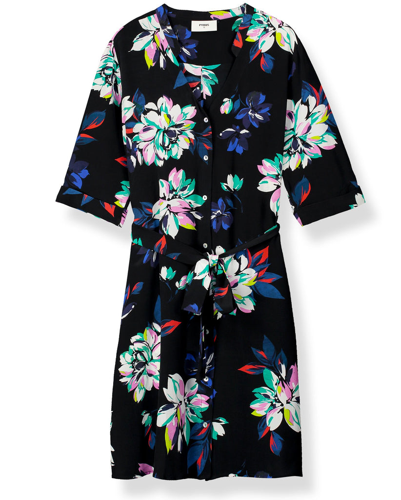 Stevie Silk Printed Shirt Dress in Como Floral