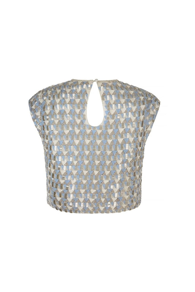 Threadwork Beaded Top in Alice Blue