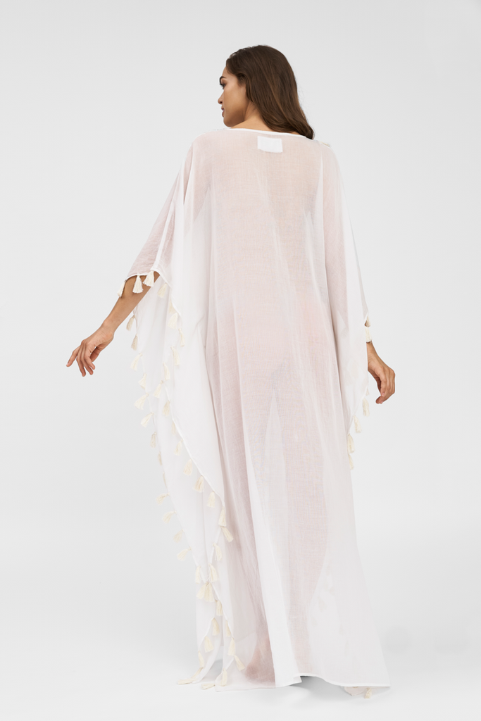 Tassel Kaftan in White