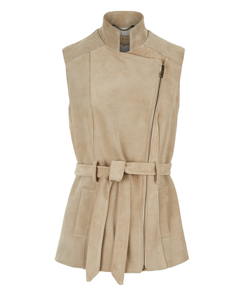 Belted Suede Gilet in Stone
