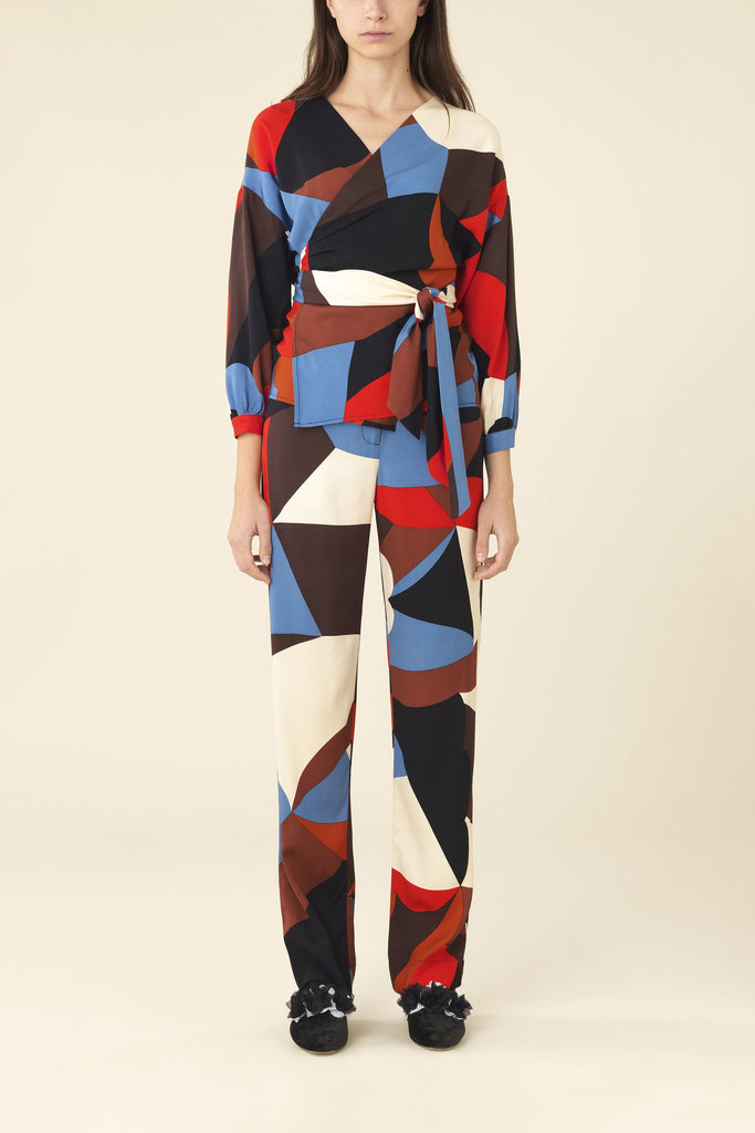 Una Wrap Top in Frieze Graphic Print