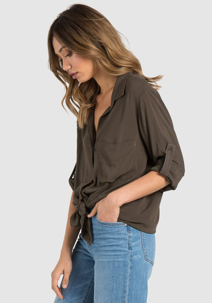 Long Sleeve Button Down Shirt in Olive Green