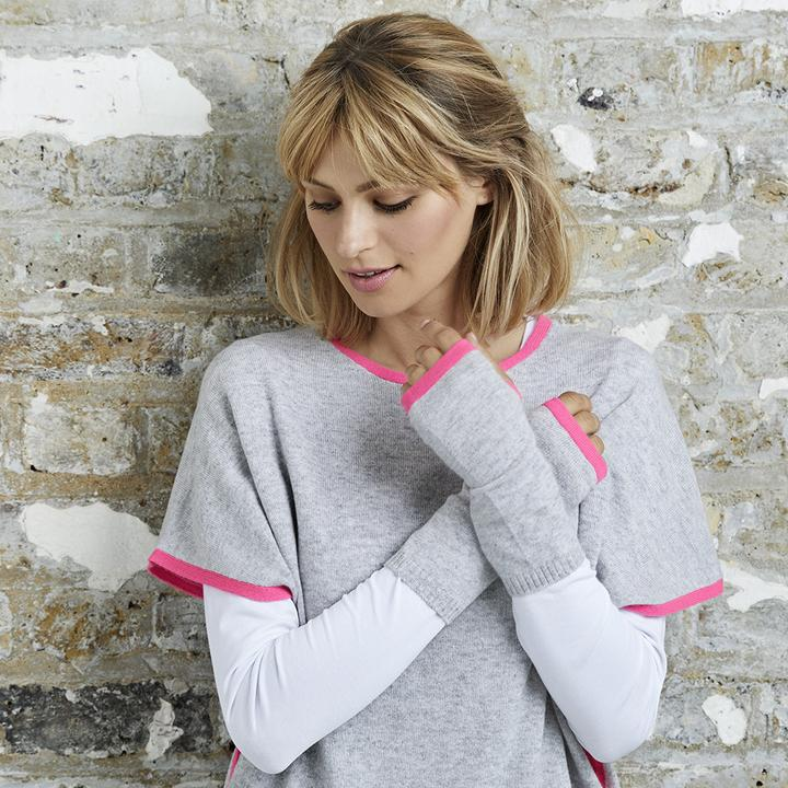 Cashmere Wrist Warmer in Grey/Pink