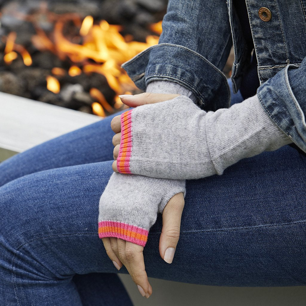 Philly Cashmere Wrist Warmers in Grey/Pink/Orange