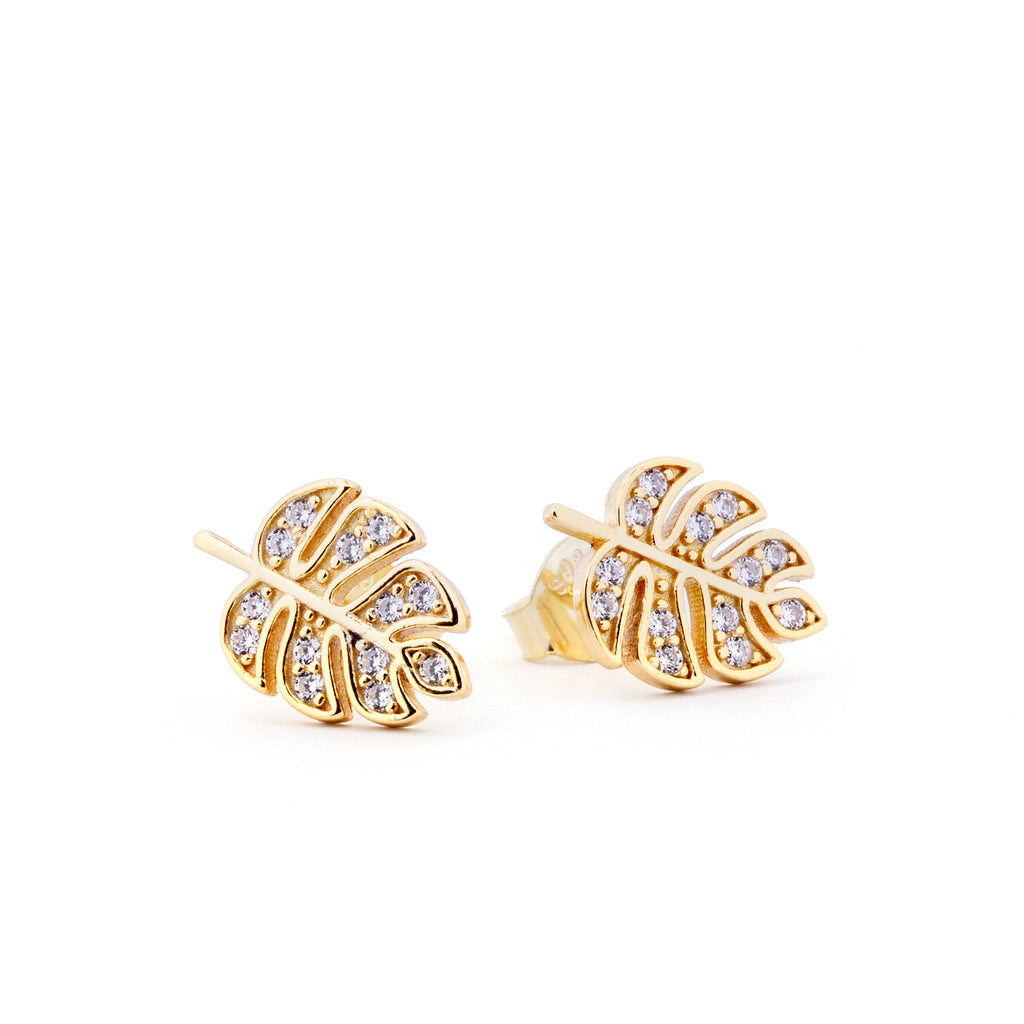 Zircon Leaf Stud Earrings - PAIR