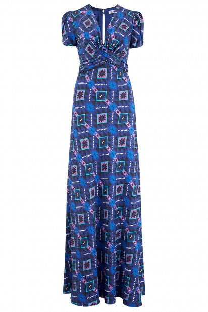 Long Millie Dress in Blue & Purple GeoTri Silk Print