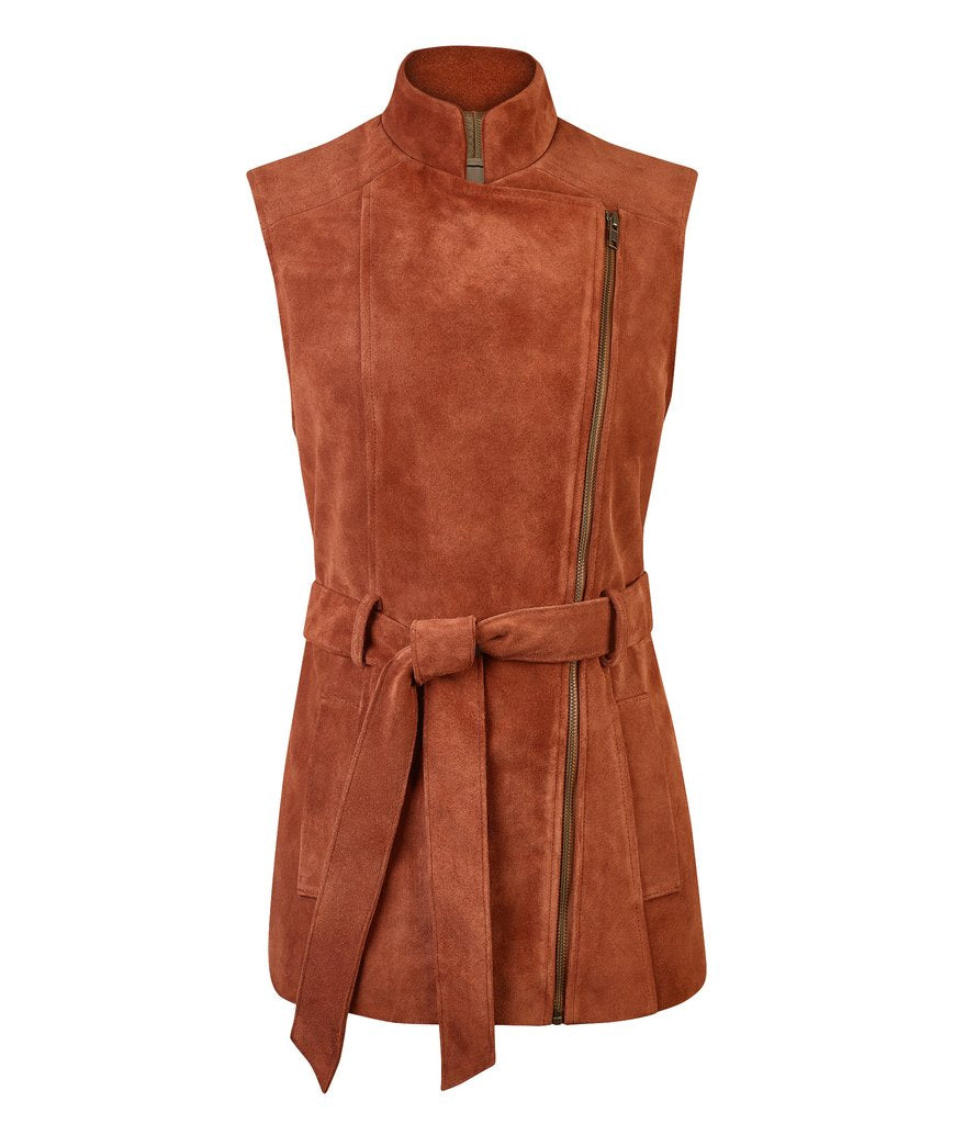 Belted Suede Gilet in Rust