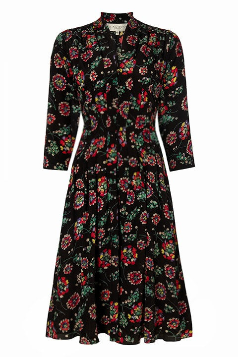 Hook & Eye Dress in Floral Black Circle