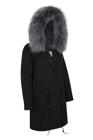 Black Parka with Silver