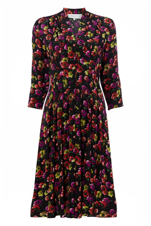 Hook & Eye Silk Dress in Bright Pansy Print