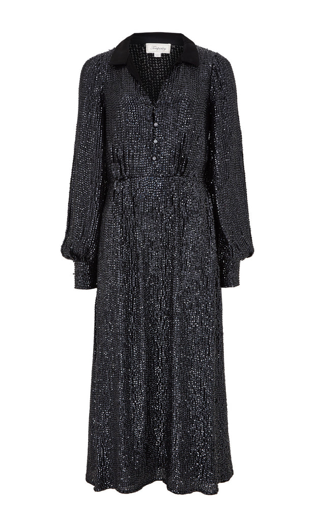 Constellation Dress in Black Sequins
