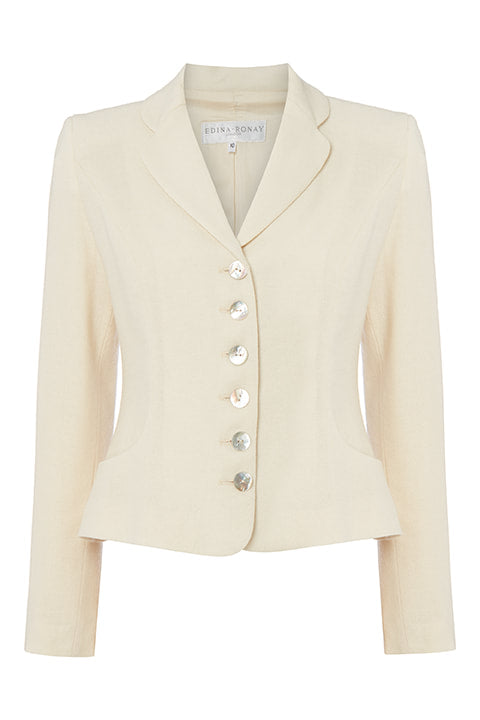 Peplum Jacket in Cream Wool Crepe