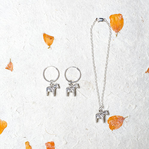 Horse Charm Silver Earrings