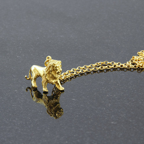 Lion Charm Necklace - Gold Plated