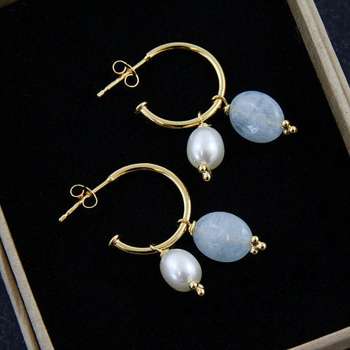 Aquamarine and Pearl Drop Earrings - Gold Plated