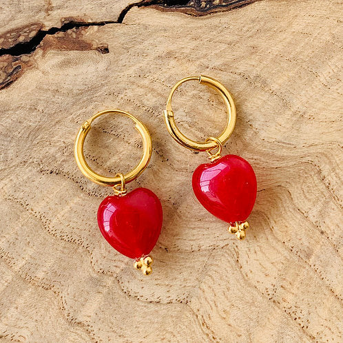 Red Heart Drop Earrings - Gold Plated