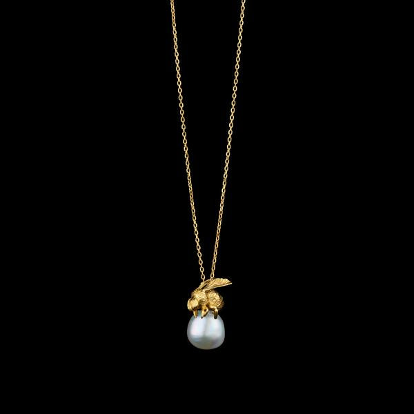 Honeybee and Moonlight Pearl Pendant Gold Plated