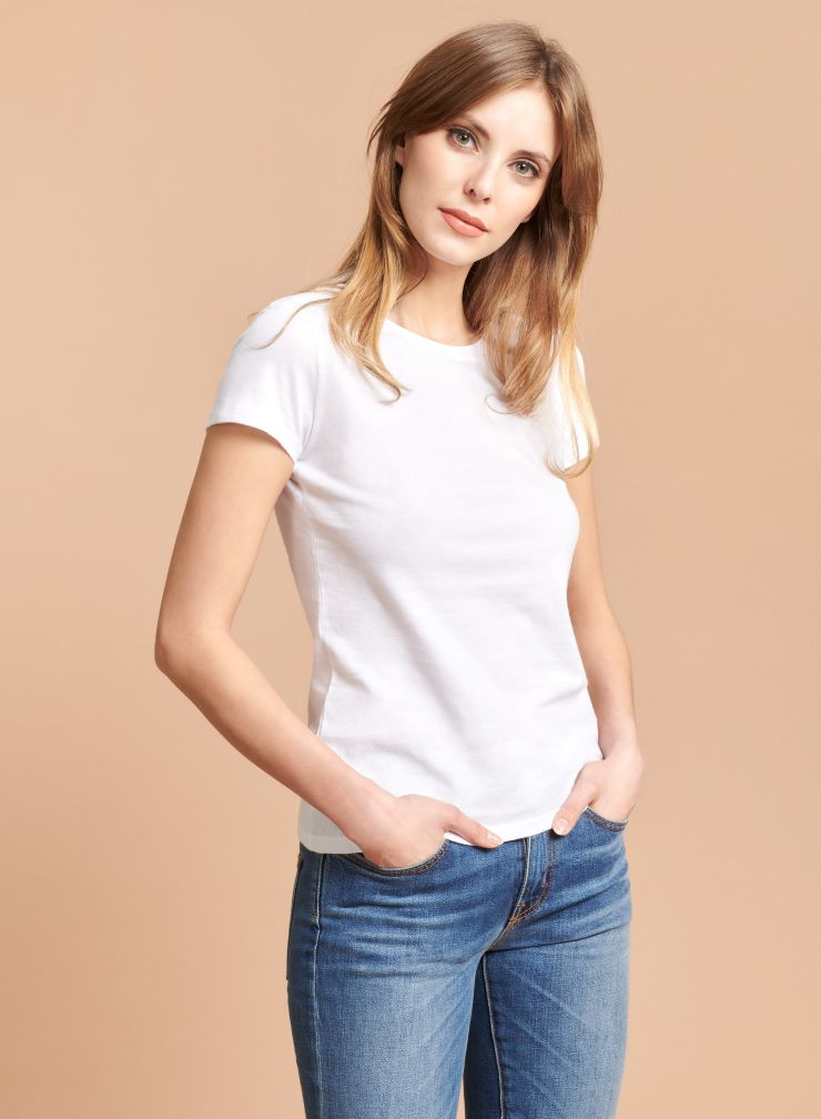 Jamie Round Neck Cotton Tee in White