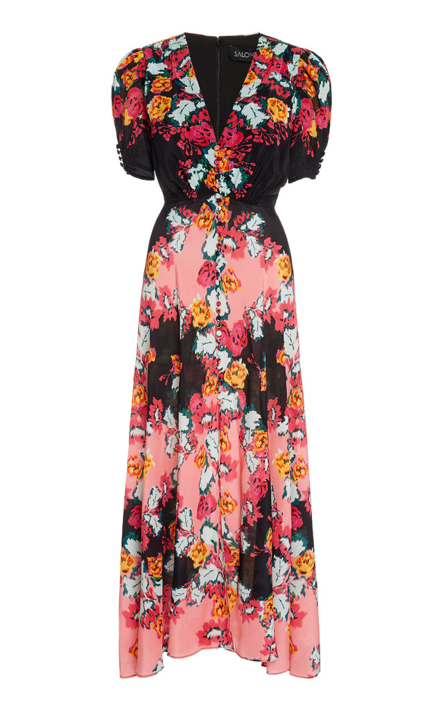 Lea Long Dress in Damask Trellis Print