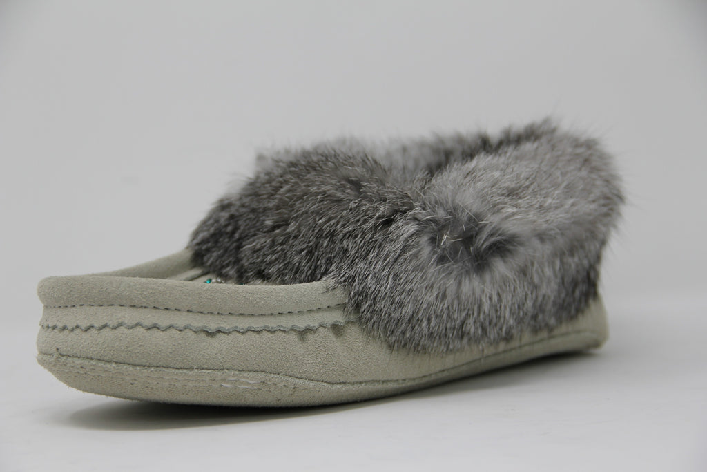 Ladies Fur Trim Slipper in Ice