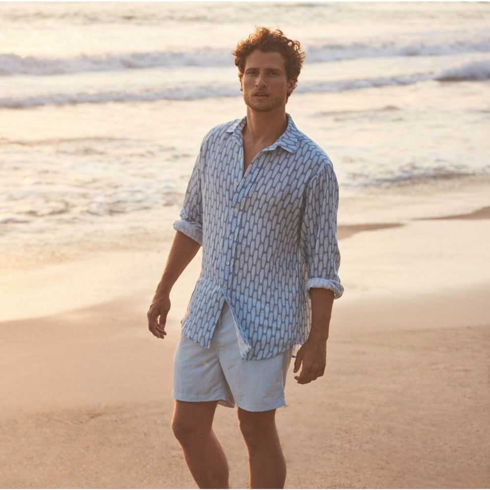 Polka Palms Mens Printed Linen Shirt