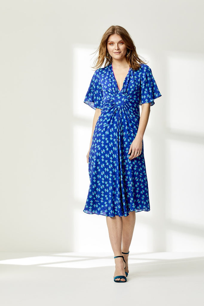 Jessie Silk Dress in Blue Hiawatha Print