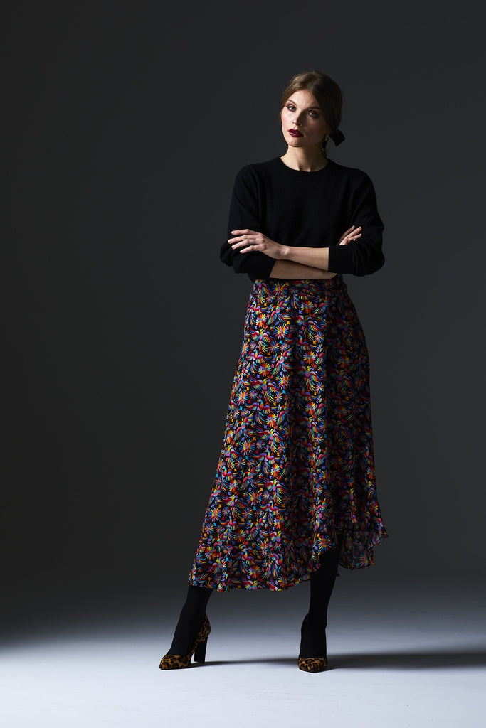 Chica Skirt in Mexi Print Rayon