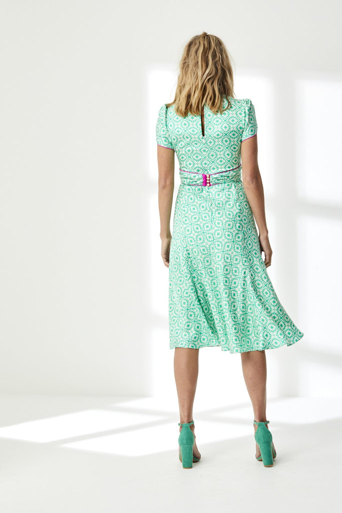 Millie Dress in Silk Twill XOX Print