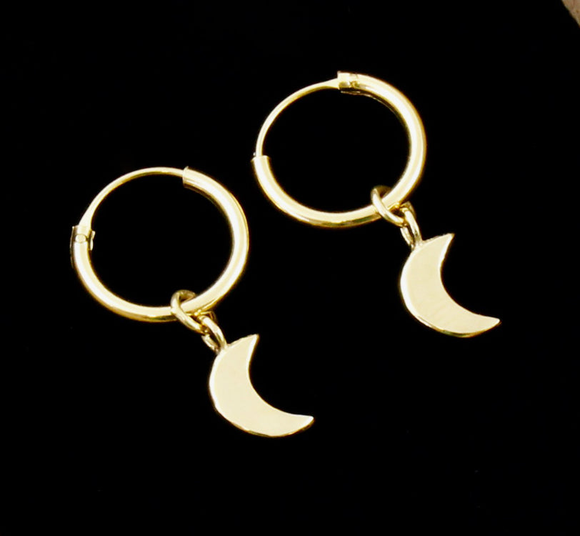 Mini Moon Drop Earrings - Gold Plated
