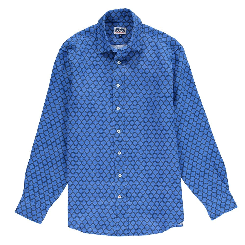 Moroccan Mirage Mens Printed Linen Shirt