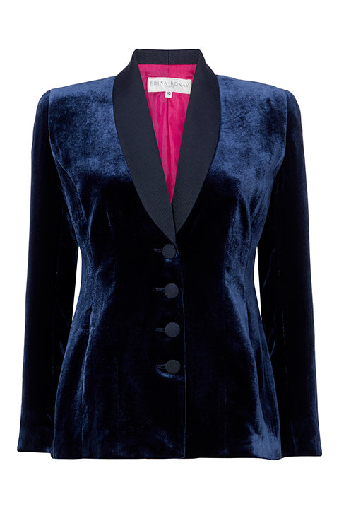 Smoking Jacket in Navy Velvet