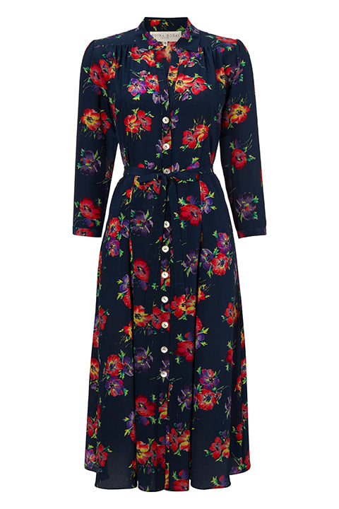 Shirtwaister Dress in Navy Gael Print