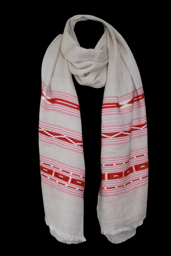 Light Oatmeal Shawl with Red Aztec detail