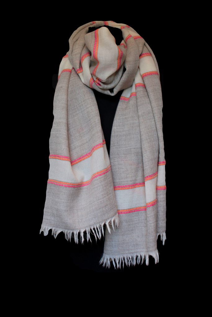 Oatmeal Cream and Neon Stripe Shawl