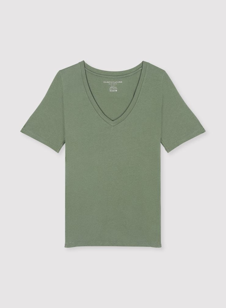 Julia V Neck T-Shirt in Khaki