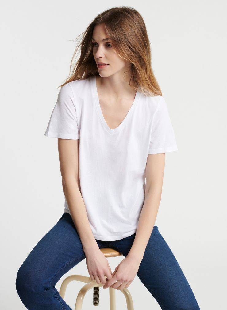V Neck Silk Touch T-Shirt in White