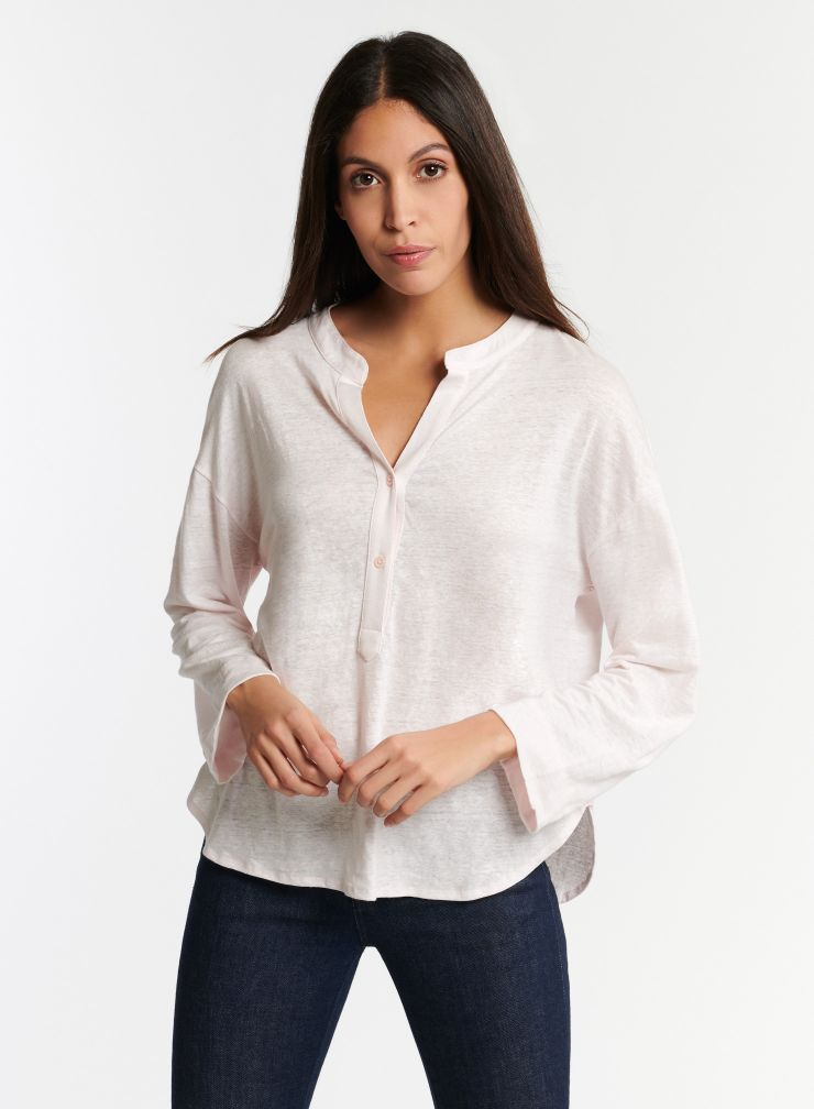 Long Sleeve Tunisian Top in Petal